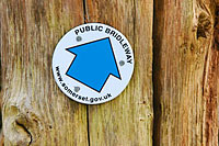 Somerset County Council Bridleway sign on gate post