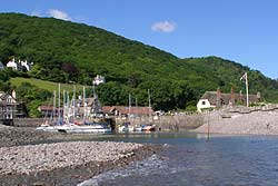 Porlock Weir from the pebble beach at mid tide